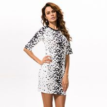 Hotprint - Printed Elbow-Sleeve Bodycon Dress