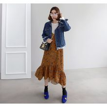 Miamasvin - Fringe-Hem Distressed Denim Jacket