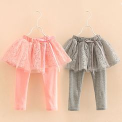 Seashells Kids - Kids Inset Lace Skirt Leggings