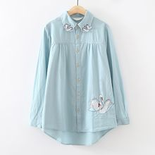 ninna nanna - Swan Applique Long-Sleeve Blouse