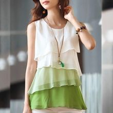 LIVA GIRL - Sleeveless Color Block Chiffon Top