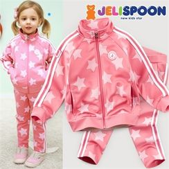 JELISPOON - Girls Set: Star Pattern Zip Jacket + Sweatpants