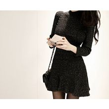 Marlangrouge - Mock-Neck Ruffle-Hem Knit Dress