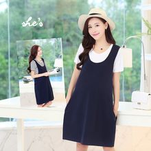 Mamaladies - Maternity Set: Short-Sleeve T-Shirt + Suspender Dress
