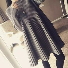 Aphrodite - Maternity Set: Long-Sleeve Knit Maternity Dress + Tights