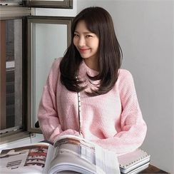 QNIGIRLS - Round-Neck Drop-Shoulder Sweater