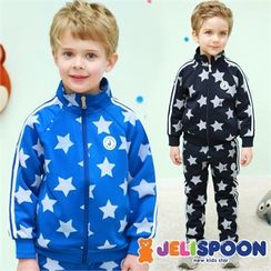 JELISPOON - Boys Set: Star Pattern Zip Jacket + Sweatpants