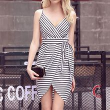 Isadora - Stripe V-Neck Strappy Dress