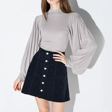 Richcoco - Mock Neck Lantern-Sleeve Top