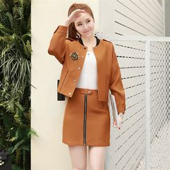 Donnae - Set: Brooch Cropped Jacket + Zip Front Mini Skirt