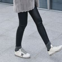 STYLEBYYAM - Faux-Leather Brushed Fleece Leggings