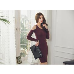 UUZONE - Off-Shoulder Rib-Knit Dress