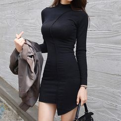 lilygirl - Long-Sleeve Asymmetric Bodycon Dress