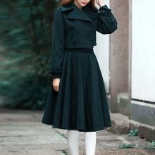 MUSI - Set: Double-Breasted Cropped Wool Blend Jacket + A-Line Skirt