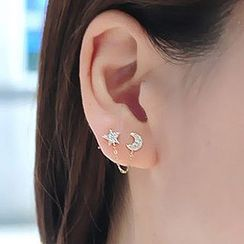 Cheermo - Moon-Star Rhinestone Twin Stud Earrings