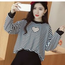 Oaksa - Heart Perforated Striped Pullover