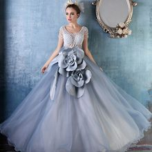 Coeur Wedding - Embellished Short Sleeve Ball Gown