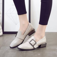 Hannah - Buckled Faux Leather Loafers