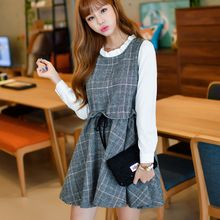 Dowisi - Plaid Panel Long Sleeve A-line Dress