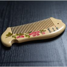 White Lotus - Floral Print Wooden Hair Comb