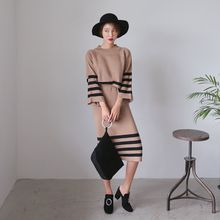 PPGIRL - Set: Raglan-Sleeve Dip-Back Knit Top + Slit-Back Knit Skirt
