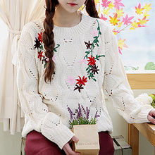 Sechuna - Round-Neck Embroidered Knit Top