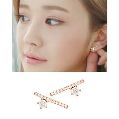 Miss21 Korea - Rhinestone Bar Earrings