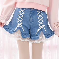 Moriville - Lace Hem Lace Up Detailed Denim Shorts
