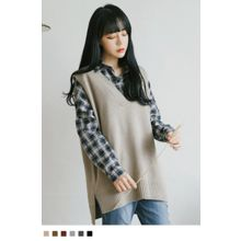 10WORLD - Sleeveless Dip-Back Knit Top