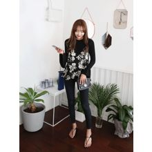 hellopeco - Spaghetti-Strap Floral-Patterned Top