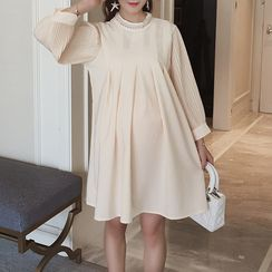 Soswift - Maternity Faux Pearl Long Sleeve Dress