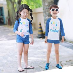 Sunglow - Kids Set: Print Long Sleeve Swim Top + Swim Shorts