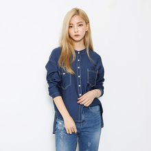 Envy Look - Mandarin-Collar Stitched Blouse