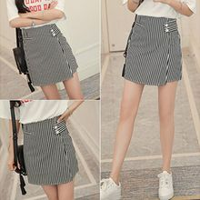 Zzang Girls - Striped A-Line Skirt