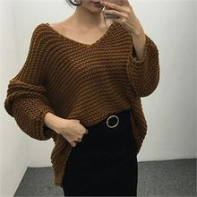 LIPHOP - V-Neck Chunky Knit Top