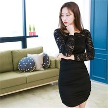clubber - Lace-Panel Trim Bodycon Dress