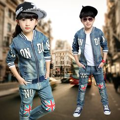 PAM - Kids Set: Applique Denim Jacket + Jeans