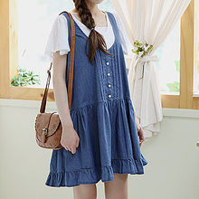 Sechuna - Sleeveless Pintuck Denim Dress