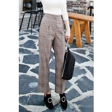 PPGIRL - Flat-Front Checked Pants