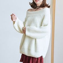 BAIMOMO - Off-Shoulder Plain Sweater