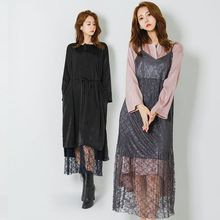 FASHION DIVA - Spaghetti-Strap Sheer Long Lace Dress