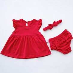 MOM Kiss - Baby Set: Plain Frill Trim Dress + Pants + Headband