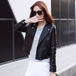 Romantica - Faux-Leather Biker Jacket
