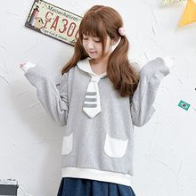 Moriville - Sailor Collar Fleece-lined Sweatshirt