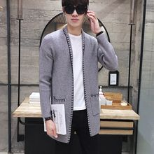 NAPO - Contrast Stitching Long Cardigan