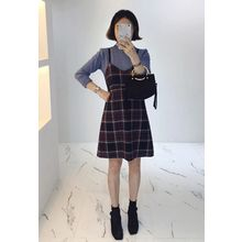 Miamasvin - Spaghetti-Strap Plaid A-Line Dress