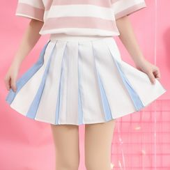 Moriville - Pleated A-Line Skirt