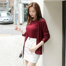 ZIZIBEZIRONG - Set: Cardigan + Elbow-Sleeve Rib-Knit Top