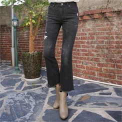 QNIGIRLS - Distressed Boot-Cut Pants