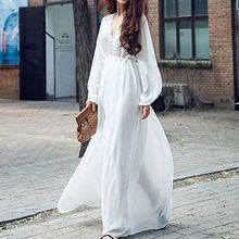 Isadora - V-Neck Long-Sleeve Maxi Chiffon Dress